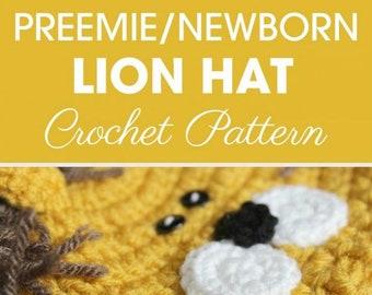 Preemie Newborn Lion Hat | Crochet Lion Hat Pattern | Baby Lion Hat Crochet Pattern | Newborn Baby Crochet Hat Pattern | PDF Pattern