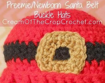Preemie Newborn Santa Belt Buckle Hat | Baby Santa Belt Buckle Hat Crochet Pattern | Newborn Baby Crochet Hat Pattern | PDF Pattern