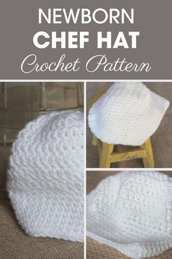 Newborn Chef Hat Crochet Chef Hat Pattern Baby Chef   Etsy