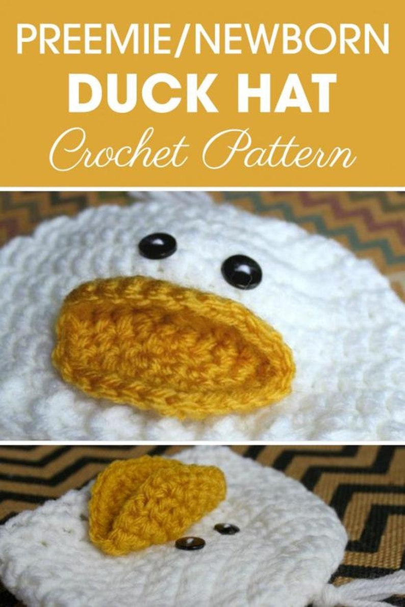 346874079 Preemie Newborn Duck Hat   Crochet Duck Hat Pattern   Baby Duck Hat Crochet  Pattern   Newborn Baby Crochet Hat Pattern   PDF Pattern