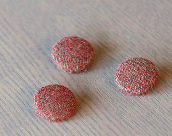 Covered Buttons, Wool Buttons, 23mm Covered Buttons, 3 pieces
