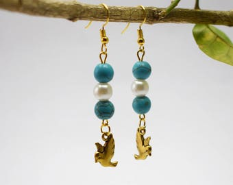 Bird Earrings, Bird Jewelry, Flying Bird Earrings, Bird Drop Earrings, Gold Bird Earrings, Flying Bird Jewelry, Bird Lover Gift Jewelry