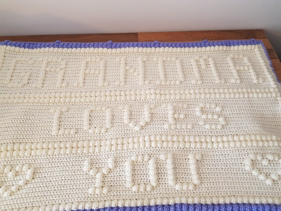baby graphghan cot blanket baby shower new born baby bobble stitch worded blanket sweet bear baby crochet blanket