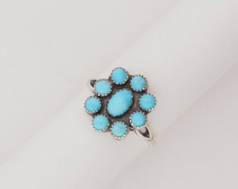 Emory Silver Studio *Sleeping Beauty Turquoise Flower Ring Handcrafted*