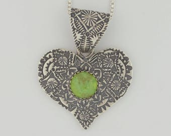 EMORY SILVER STUDIO *Gaspeite Sterling Silver .925 Heart Pendant Handcrafted*