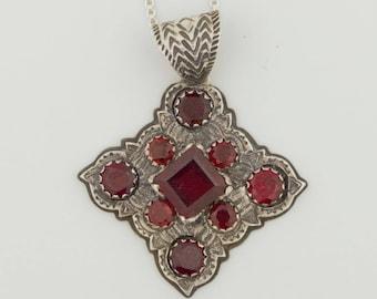 Emory Silver Studio *Red Garnet Pendant Handcrafted*