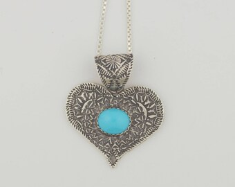 EMORY SILVER STUDIO *Sleeping Beauty Turquoise Sterling Silver .925 Heart Pendant Handcrafted*