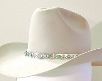 f47cda3108355 Emory Silver  Large Sleeping Beauty Turquoise Rectangle Western Cowboy Hat  Band