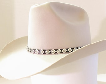 Emory Silver Studio *Diamond Sterling Silver Western Hatband Hand Stamped*