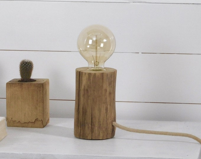 Edison wooden log lamp with an old branch and jute cord