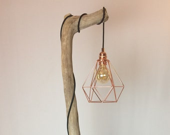 Driftwood floor lamp etsy driftwood floor lamp with copper cage and black cloth cable aloadofball Image collections