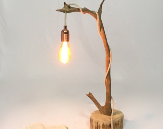 Boho branch lamp with a hanging bulb and cloth cable