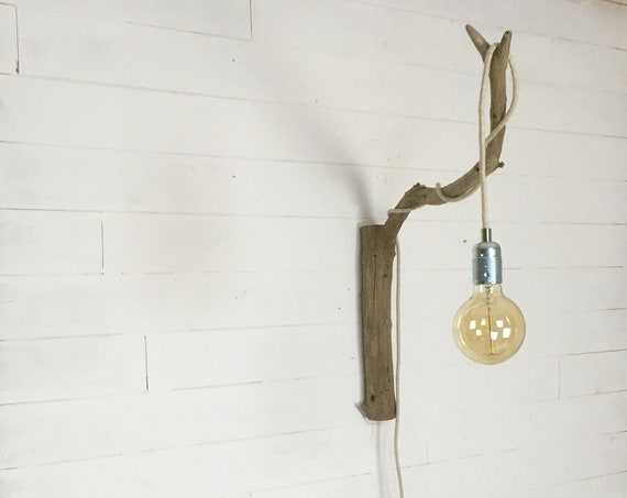 Large wooden wall hook for hanging light