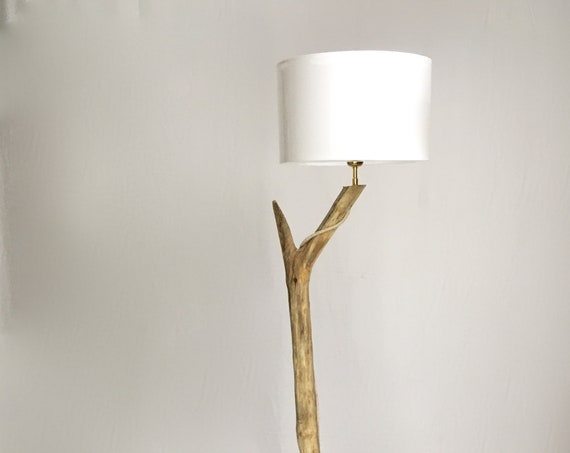 Unique wooden floor lamp with white lampshade,  cloth cable