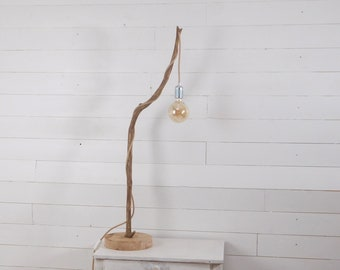 Wooden table Lamp with a nice weathered branch