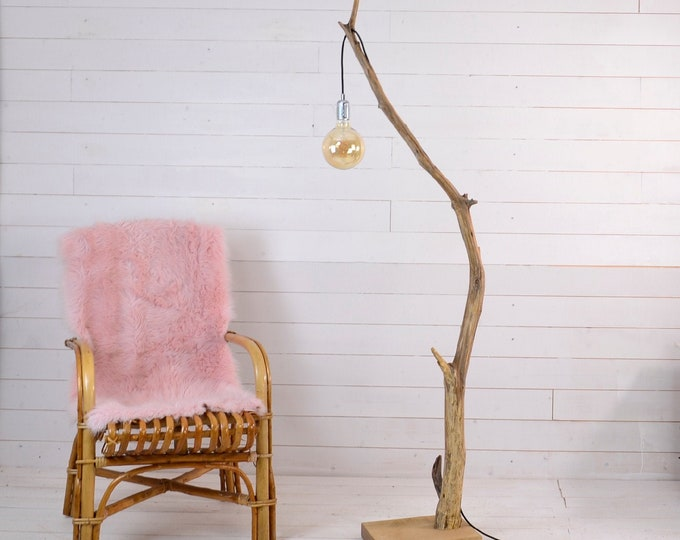 Floor lamp made with a nice weathered branch
