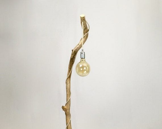 Old oak branch floor lamp with linen flex