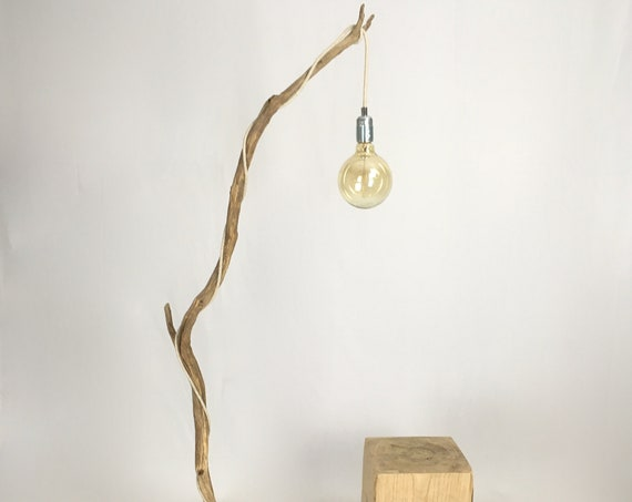 Old branch floor lamp with lamp shade and cloth cable