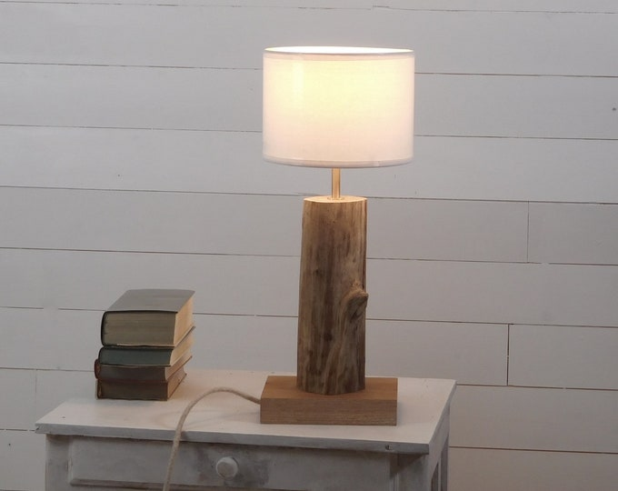 Bed side lamp with a driftwood branch