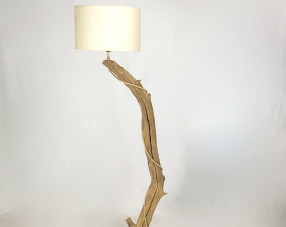 Old branch floor lamp with hanging lamp shade and cloth cable