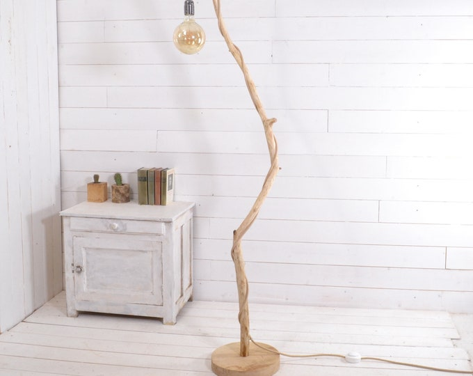 Natural design wooden floor lamp with exposed bulb