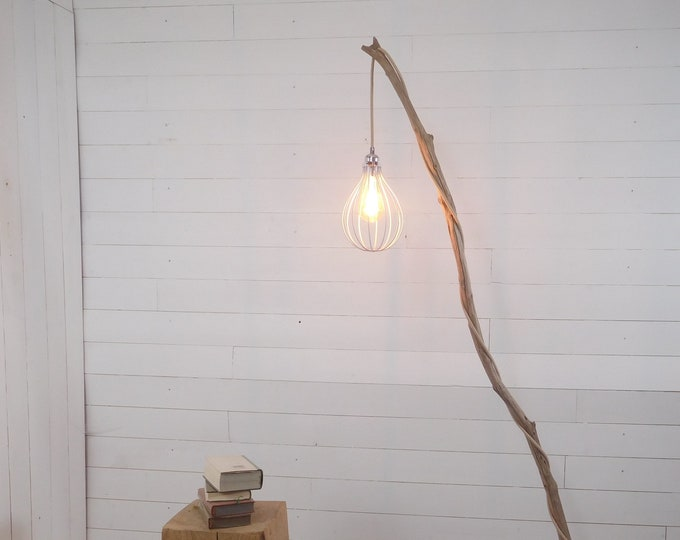 Weathered branch standing lamp
