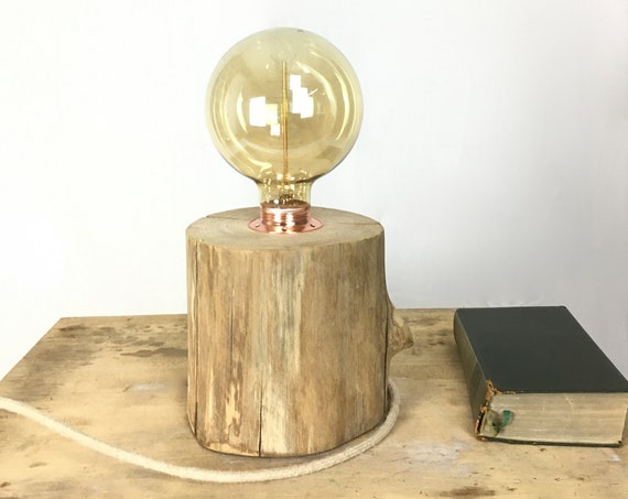 Wooden Edison lamp (chestnut) with cloth cord