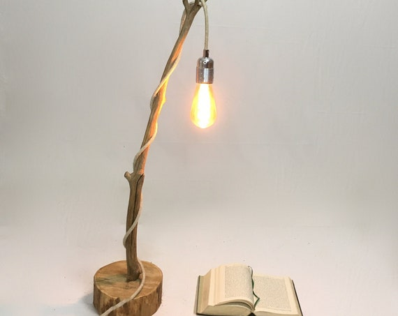Rustic branch lamp with a hanging bulb and cloth cable