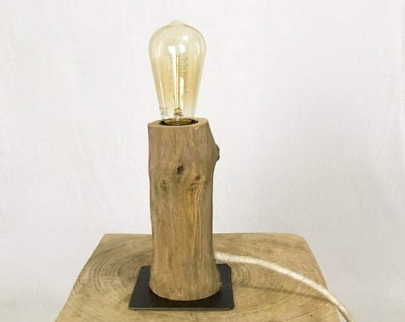 Edison wooden lamp with steel plate and cloth cable