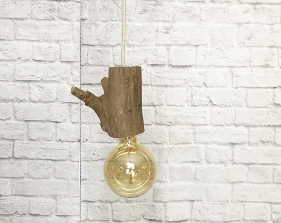Raw wood socket, hanging light with edison bulb