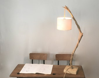 Driftwood lamp, weathered chestnut branch, table  branch lamp with edison bulb