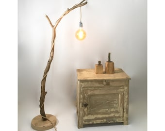 Driftwood standing lamp with hanging retro bulb