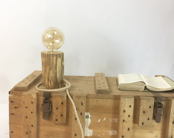 Edison wooden lamp with an old branch, steel plate and cloth cable