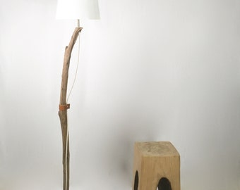 Unique driftwood floor lamp with raffia lamp shade, cloth cable