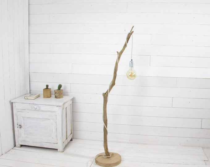 Small branch standing lamp with hanging retro led bulb