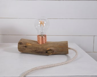 Edison wooden lamp with an old branch, copper lampholder and cloth cable