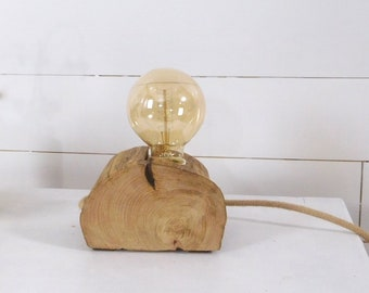 Edison wood lamp with half a trunc of chestnut.