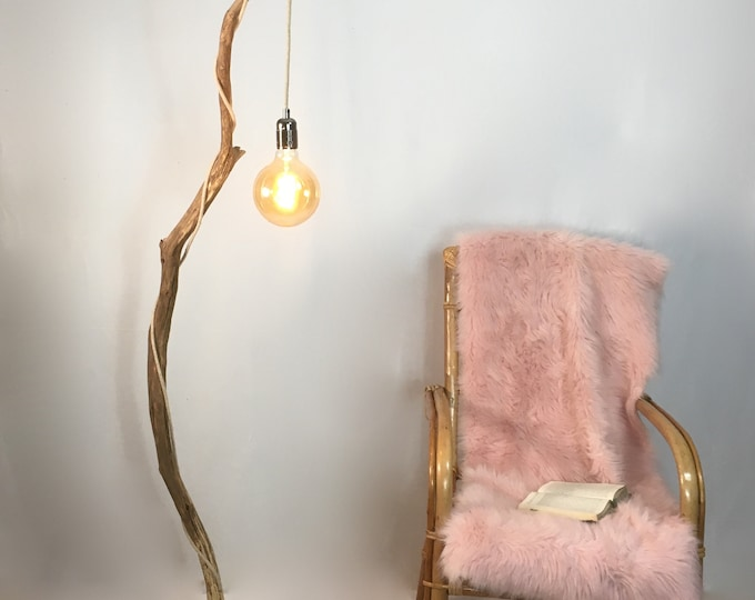 Old branch floor lamp with hanging light and cloth flex