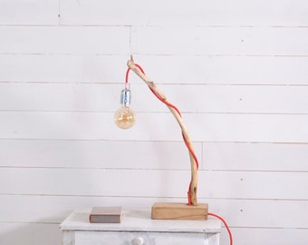 Wood lamp with a nice branch, red cotton cable