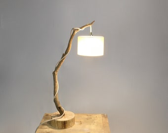 Natural design lamp with a weathered branch