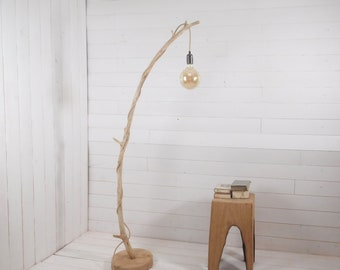 Natural design floor lamp with hanging light