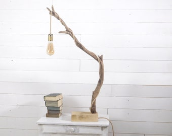 Driftwood lamp, table branch lamp with edison bulb