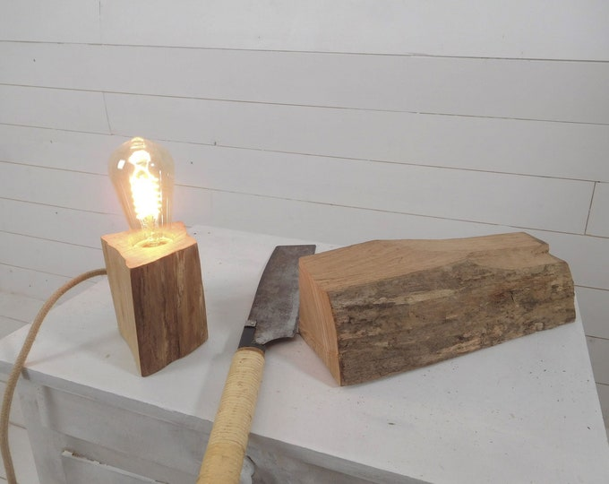 Wood table lamp made with a split wood log