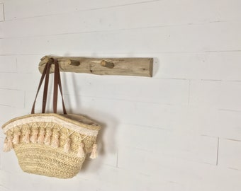 Wooden wall rack for hanging clothes, hats and baskets