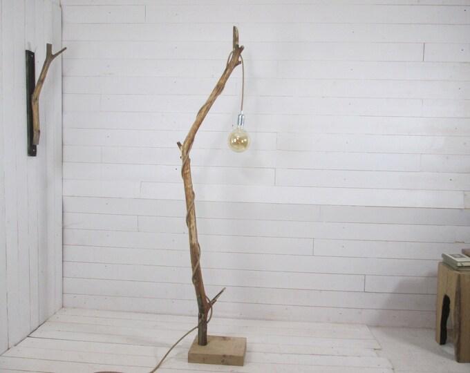 Nice branch floor lamp with hanging light, jute cord