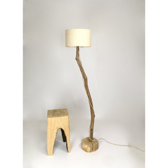 Unique branch floor lamp with lampshade, linen cloth cable