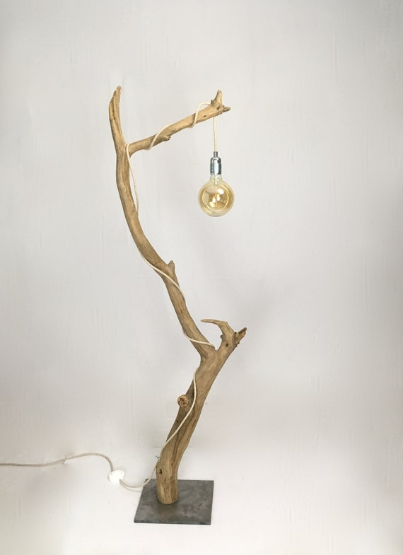 Driftwood floor lamp with cloth cable, steel base and  vintage bulb