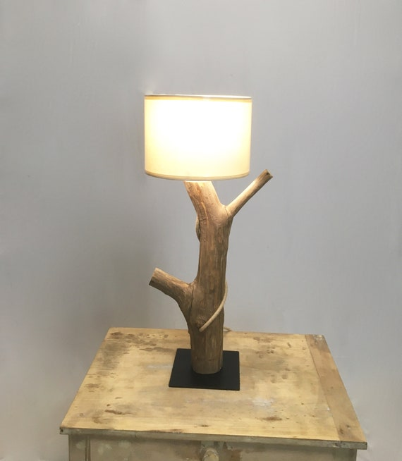 Bed side lamp, weathered wood branch with steel base and jute cord