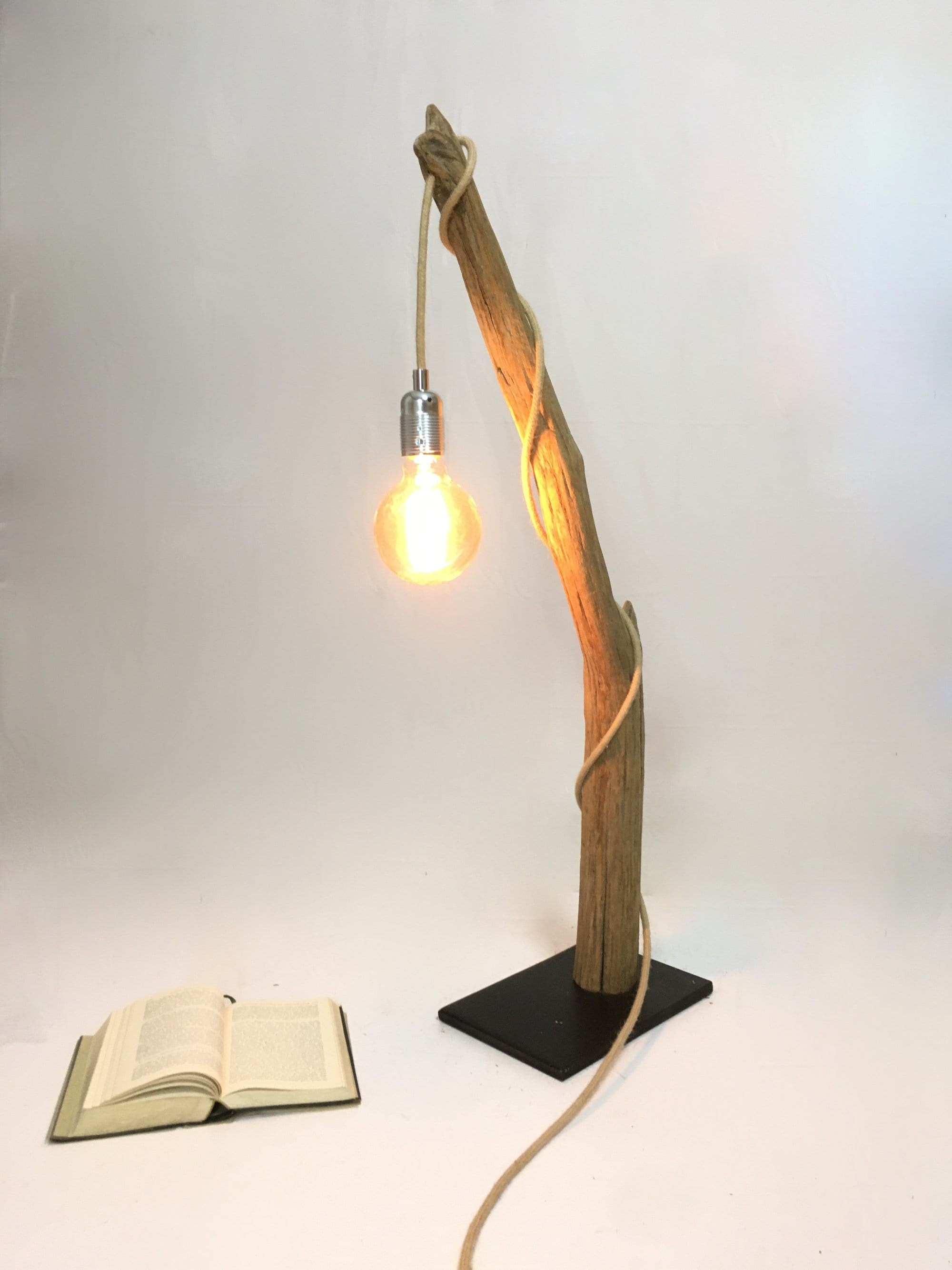 Driftwood Table Lamp Rope Cable And Edison Bulb