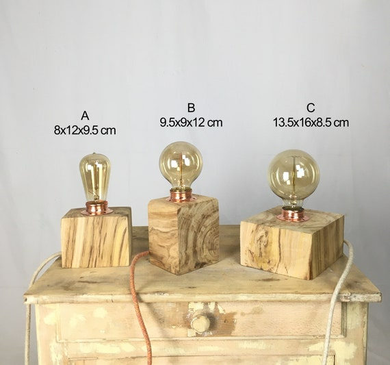 Edison wood lamps made from very old chestnut wood